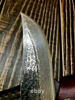 Trailing Point Knife Hunting Combat Tactical Brass Handle VG10 Damascus Steel 6