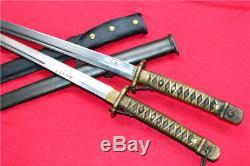 Two Japanese Military Saber Sword Samurai Katana Brass Handle Steel Hide Sheath