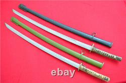 Two Japanese NCO Sword Samurai Katana Brass Handle Sign Blade Steel Sheath