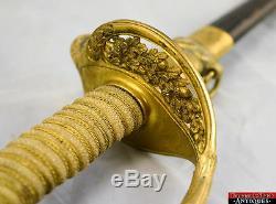 USN Navy Officer Sword Issue Handle Leather Scabbard Gilt Brass 1852 Vintage L1Z