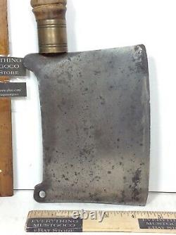 VTG Butcher's Carbon Steel Blade Meat Cleaver Chopper Round Wood Handle with Brass