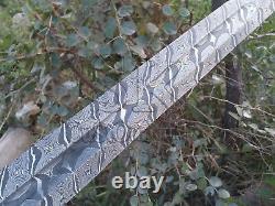 Viking Sword Knife 38 Damascus Custom Handmade With Brass Wire Wrap Handle