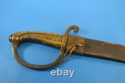 Vintage Brass Handle French Saber Short Sword with Leather Scabbard