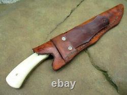 Vintage Custom Damascus Steel Handle Bone & Brass Hunting Knife Leather Sheath