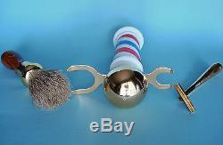 Vintage Glass & Brass BARBER POLE Shaving Stand with Brush & Blade Handle Set