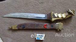 Vintage Handmade USSR Hunting Fixed Knife Stainless Steel Horn Handle Brass
