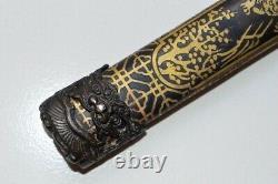 Vintage Japanese Samurai Sword Katana Damascus Steel Blade Brass Handle & Sheath