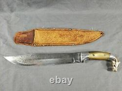 Vintage Large Mexico Bowie KNIFE Etched 10 Blade Brass HORSE HEAD & Horn Handle