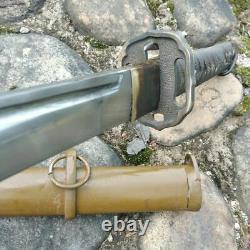 Vintage Military Japanese Army Nco Katana Sword Carbon Steel Blade Brass Handle