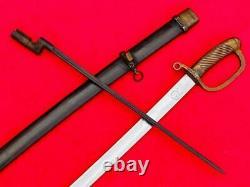 Vintage Military Russian Sword Cossack Cavalry Saber Brass Handle Steel Scabbard