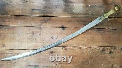 Vintage Talwar Sword with Brass handle Unique Indian Design Curved Blade