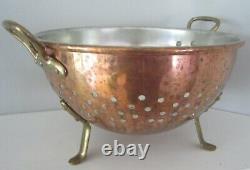 Vintage Williams Sonoma copper steel brass footed handled colander France