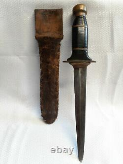 Vtg Dagger Style Fixed Blade Stacked Leather Brass Handle With OG Leather Sheath