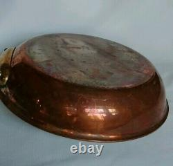 Vtg Williams Sonoma 10Copper Fry Pan Stainl. Steel Lined withBrass Handle France